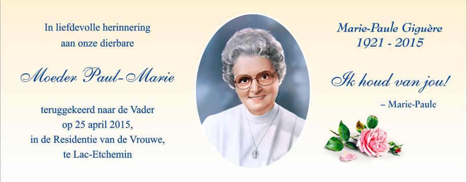 Overlijden van Moeder Paul-Marie